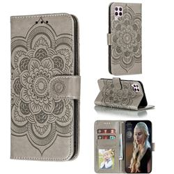 Intricate Embossing Datura Solar Leather Wallet Case for Huawei P40 Lite - Gray