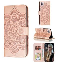 Intricate Embossing Datura Solar Leather Wallet Case for Huawei P40 Lite - Rose Gold