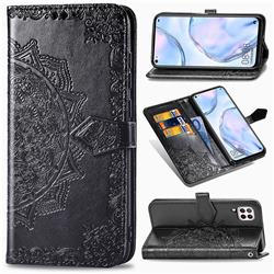 Embossing Imprint Mandala Flower Leather Wallet Case for Huawei P40 Lite - Black