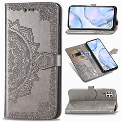 Embossing Imprint Mandala Flower Leather Wallet Case for Huawei P40 Lite - Gray