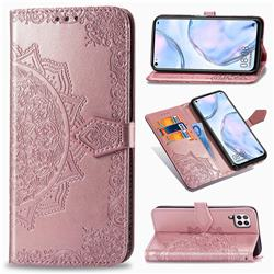 Embossing Imprint Mandala Flower Leather Wallet Case for Huawei P40 Lite - Rose Gold