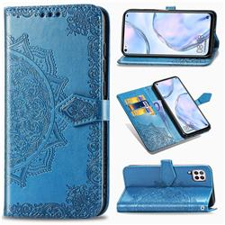 Embossing Imprint Mandala Flower Leather Wallet Case for Huawei P40 Lite - Blue