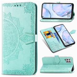 Embossing Imprint Mandala Flower Leather Wallet Case for Huawei P40 Lite - Green