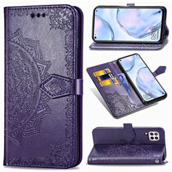 Embossing Imprint Mandala Flower Leather Wallet Case for Huawei P40 Lite - Purple