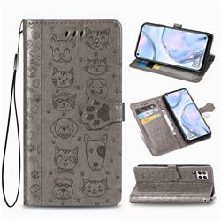 Embossing Dog Paw Kitten and Puppy Leather Wallet Case for Huawei P40 Lite - Gray