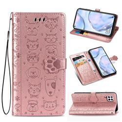 Embossing Dog Paw Kitten and Puppy Leather Wallet Case for Huawei P40 Lite - Rose Gold