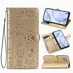 Embossing Dog Paw Kitten and Puppy Leather Wallet Case for Huawei P40 Lite - Champagne Gold
