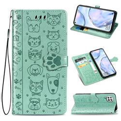 Embossing Dog Paw Kitten and Puppy Leather Wallet Case for Huawei P40 Lite - Green