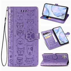 Embossing Dog Paw Kitten and Puppy Leather Wallet Case for Huawei P40 Lite - Purple