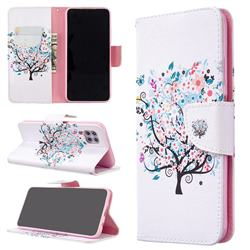Colorful Tree Leather Wallet Case for Huawei P40 Lite