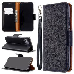 Classic Luxury Litchi Leather Phone Wallet Case for Huawei P40 Lite - Black