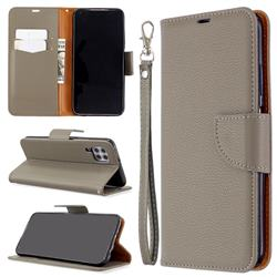 Classic Luxury Litchi Leather Phone Wallet Case for Huawei P40 Lite - Gray