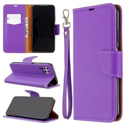 Classic Luxury Litchi Leather Phone Wallet Case for Huawei P40 Lite - Purple