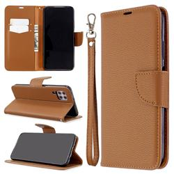 Classic Luxury Litchi Leather Phone Wallet Case for Huawei P40 Lite - Brown