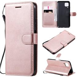 Retro Greek Classic Smooth PU Leather Wallet Phone Case for Huawei P40 Lite - Rose Gold