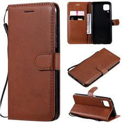 Retro Greek Classic Smooth PU Leather Wallet Phone Case for Huawei P40 Lite - Brown