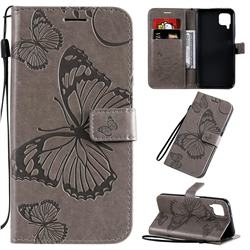 Embossing 3D Butterfly Leather Wallet Case for Huawei P40 Lite - Gray
