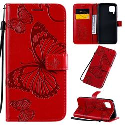 Embossing 3D Butterfly Leather Wallet Case for Huawei P40 Lite - Red