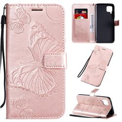 Embossing 3D Butterfly Leather Wallet Case for Huawei P40 Lite - Rose Gold