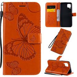 Embossing 3D Butterfly Leather Wallet Case for Huawei P40 Lite - Orange