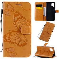 Embossing 3D Butterfly Leather Wallet Case for Huawei P40 Lite - Yellow