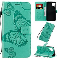 Embossing 3D Butterfly Leather Wallet Case for Huawei P40 Lite - Green