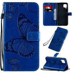 Embossing 3D Butterfly Leather Wallet Case for Huawei P40 Lite - Blue