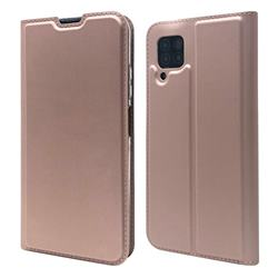 Ultra Slim Card Magnetic Automatic Suction Leather Wallet Case for Huawei P40 Lite - Rose Gold