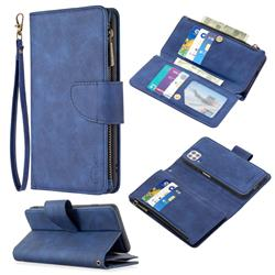 Binfen Color BF02 Sensory Buckle Zipper Multifunction Leather Phone Wallet for Huawei P40 Lite - Blue