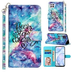 Blue Starry Sky 3D Leather Phone Holster Wallet Case for Huawei P40 Lite