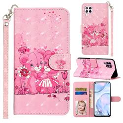 Pink Bear 3D Leather Phone Holster Wallet Case for Huawei P40 Lite