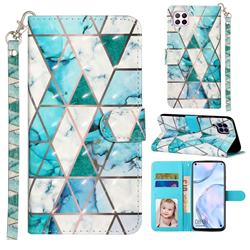Stitching Marble 3D Leather Phone Holster Wallet Case for Huawei P40 Lite