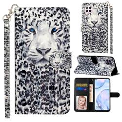 White Leopard 3D Leather Phone Holster Wallet Case for Huawei P40 Lite