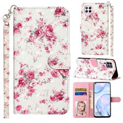 Rambler Rose Flower 3D Leather Phone Holster Wallet Case for Huawei P40 Lite