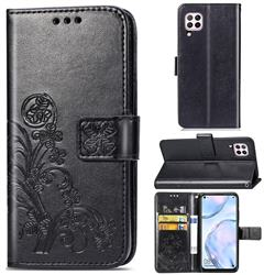 Embossing Imprint Four-Leaf Clover Leather Wallet Case for Huawei P40 Lite - Black
