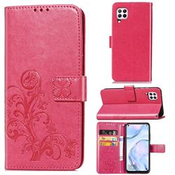Embossing Imprint Four-Leaf Clover Leather Wallet Case for Huawei P40 Lite - Rose Red