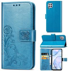Embossing Imprint Four-Leaf Clover Leather Wallet Case for Huawei P40 Lite - Blue