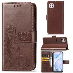 Embossing Imprint Four-Leaf Clover Leather Wallet Case for Huawei P40 Lite - Brown