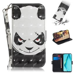 Angry Bear 3D Painted Leather Wallet Phone Case for Huawei P40 Lite