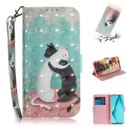 Black and White Cat 3D Painted Leather Wallet Phone Case for Huawei P40 Lite