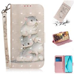 Three Squirrels 3D Painted Leather Wallet Phone Case for Huawei P40 Lite