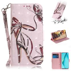 Butterfly High Heels 3D Painted Leather Wallet Phone Case for Huawei P40 Lite