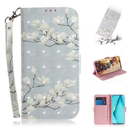 Magnolia Flower 3D Painted Leather Wallet Phone Case for Huawei P40 Lite