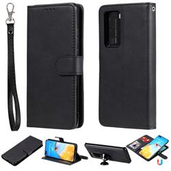 Retro Greek Detachable Magnetic PU Leather Wallet Phone Case for Huawei P40 Lite - Black