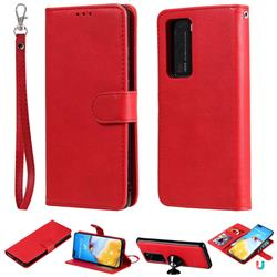 Retro Greek Detachable Magnetic PU Leather Wallet Phone Case for Huawei P40 Lite - Red