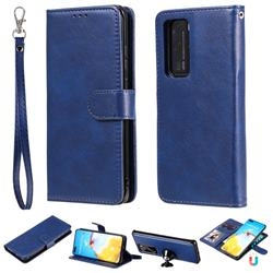 Retro Greek Detachable Magnetic PU Leather Wallet Phone Case for Huawei P40 Lite - Blue