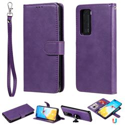 Retro Greek Detachable Magnetic PU Leather Wallet Phone Case for Huawei P40 Lite - Purple