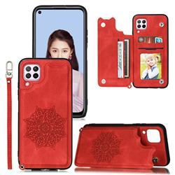 Luxury Mandala Multi-function Magnetic Card Slots Stand Leather Back Cover for Huawei P40 Lite - Red