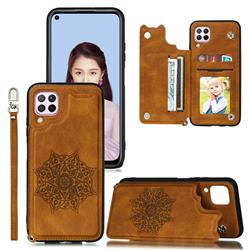 Luxury Mandala Multi-function Magnetic Card Slots Stand Leather Back Cover for Huawei P40 Lite - Brown