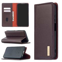 Binfen Color BF06 Luxury Classic Genuine Leather Detachable Magnet Holster Cover for Huawei P40 Lite - Dark Brown